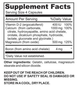 Supplement Facts of the Boron